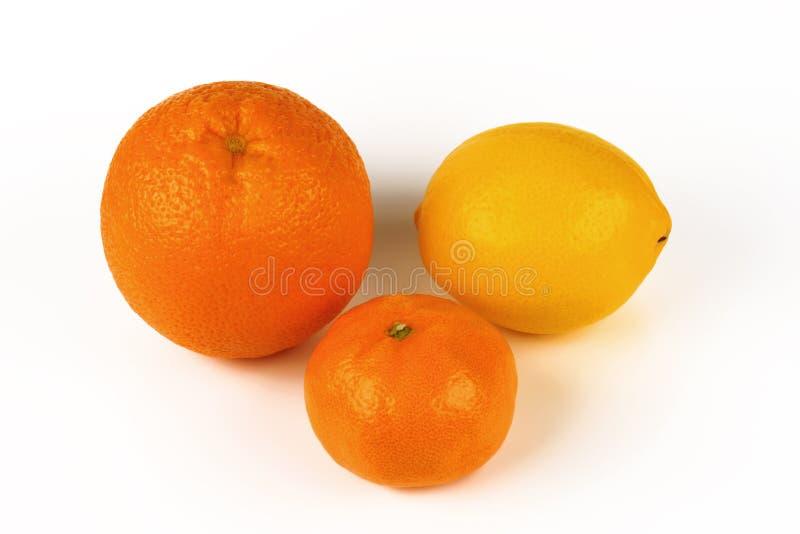 Arancia fresca, limone, mandarino isolato su un fondo bianco immagini stock