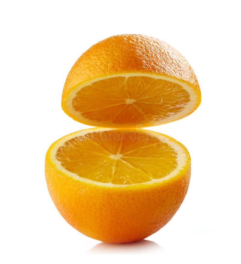Arancia mezza fresca fotografie stock
