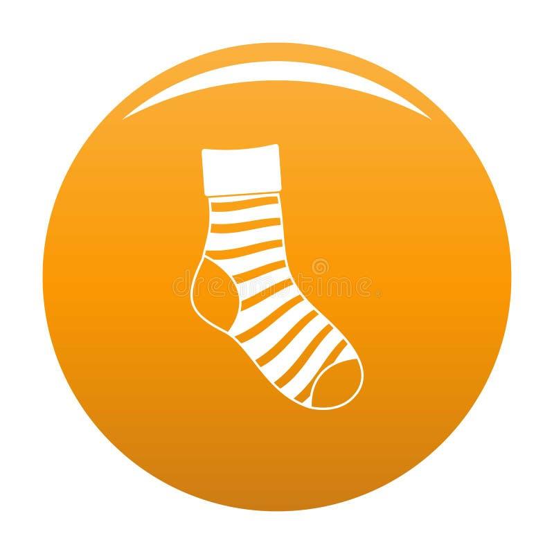 Arancia a strisce dell'icona del calzino illustrazione di stock