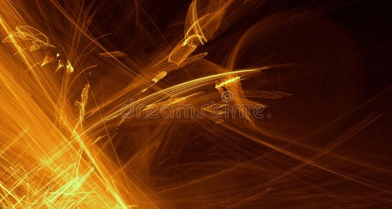 Arancio astratto, giallo, luce dell'oro emette luce, fasci, forme su fondo scuro illustrazione vettoriale