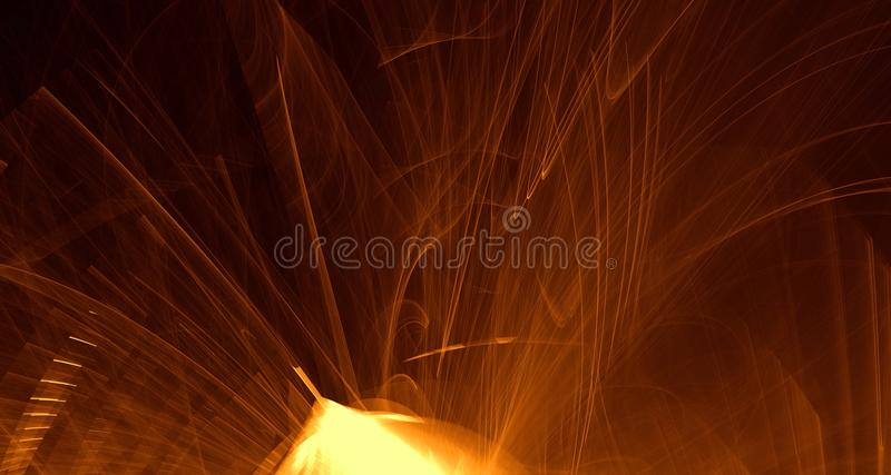 Arancio astratto, giallo, luce dell'oro emette luce, fasci, forme su fondo scuro illustrazione di stock