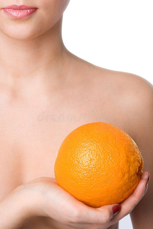 Arancio della stretta della mano della donna dei primi piani fotografie stock libere da diritti