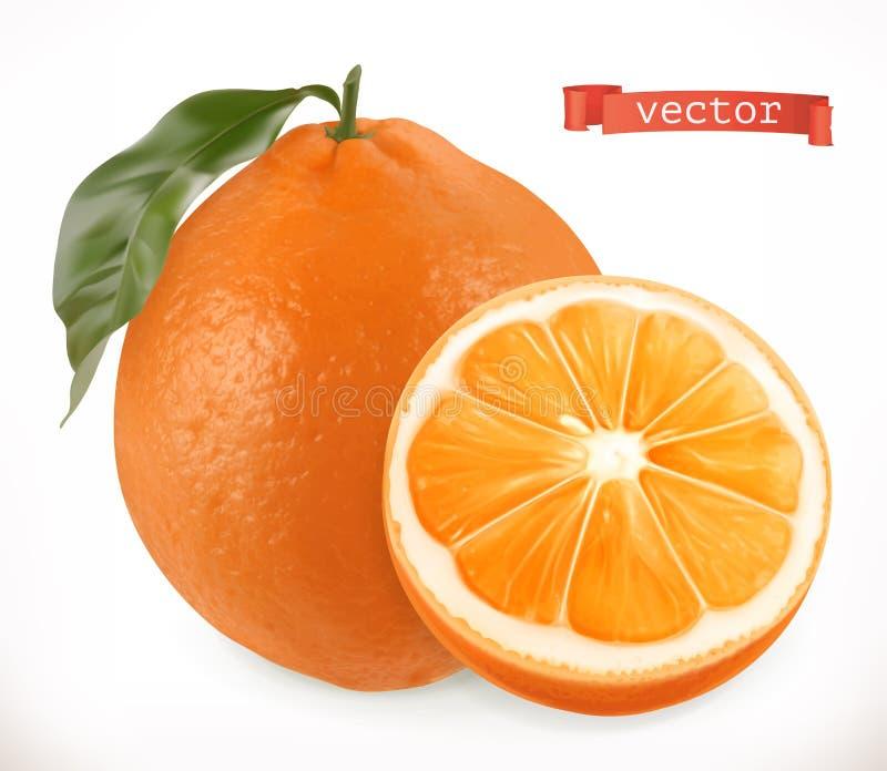 Arancio Icona di vettore della frutta fresca 3d illustrazione vettoriale