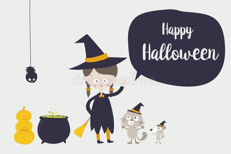 Aranha bonito do gato da bruxa e personagem de banda desenhada 001 do rato ilustração royalty free