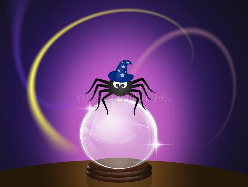 Aranha com chapéu do mágico ilustração stock