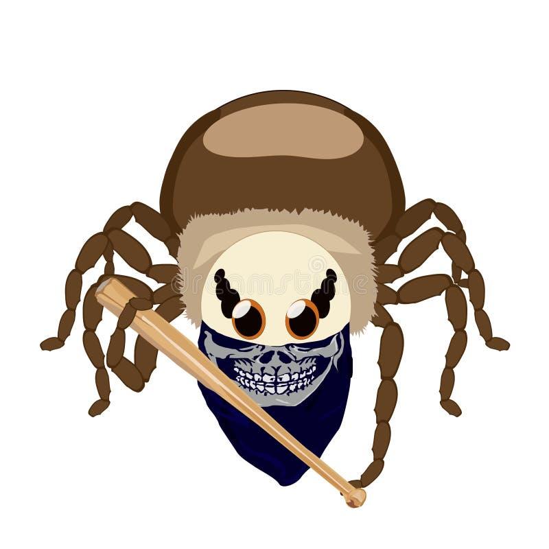 Aranha da etiqueta isolada – fã com um bastão ilustração royalty free