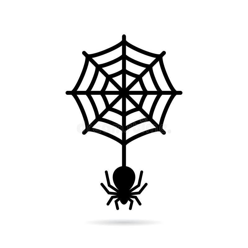 Aranha de lobo e ícone circular do spiderweb ilustração stock