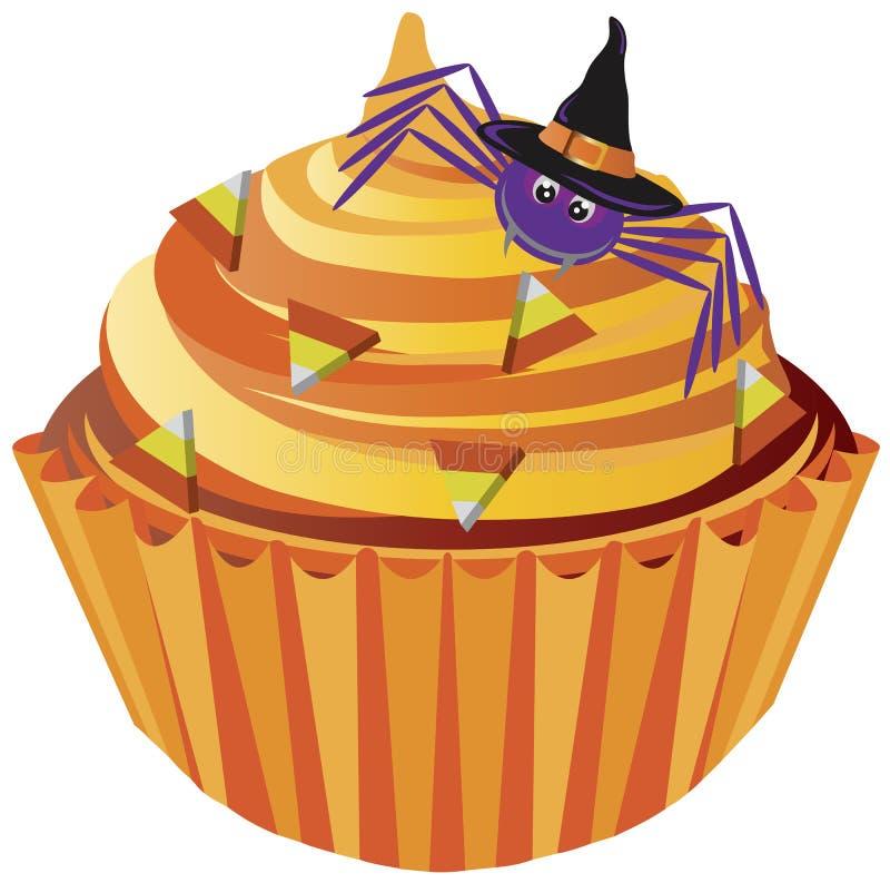 Aranha do queque de Halloween e ilustração dos doces ilustração stock