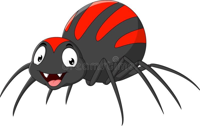 Aranha dos desenhos animados no fundo branco ilustração do vetor