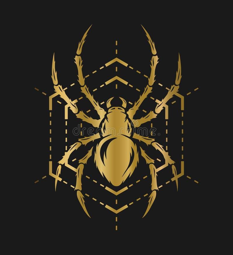 Aranha dourada e Web ilustração royalty free