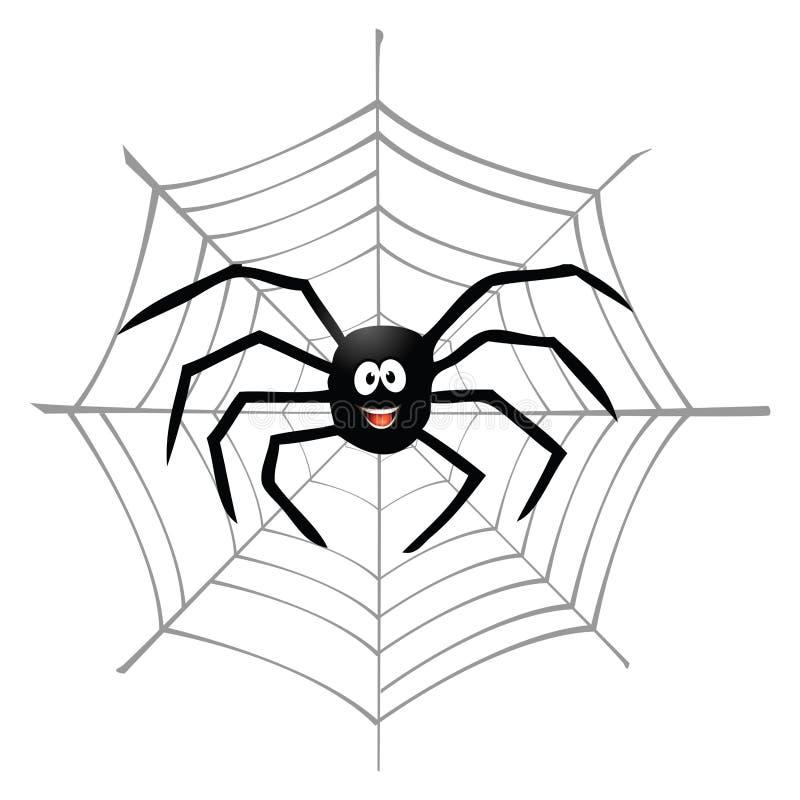 Aranha e spiderweb ilustração stock