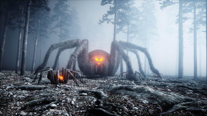 Aranha gigant assustador no medo e no horror da floresta da noite da névoa Mistic e conceito do Dia das Bruxas rendição 3d ilustração do vetor
