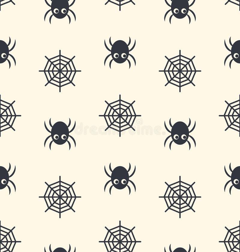 Aranha sem emenda do teste padrão e Web de aranha ilustração do vetor