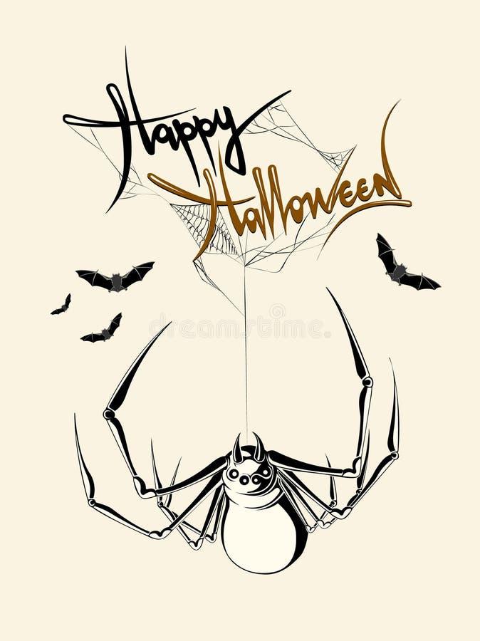 Aranha tirada mão do Dia das Bruxas ilustração do vetor