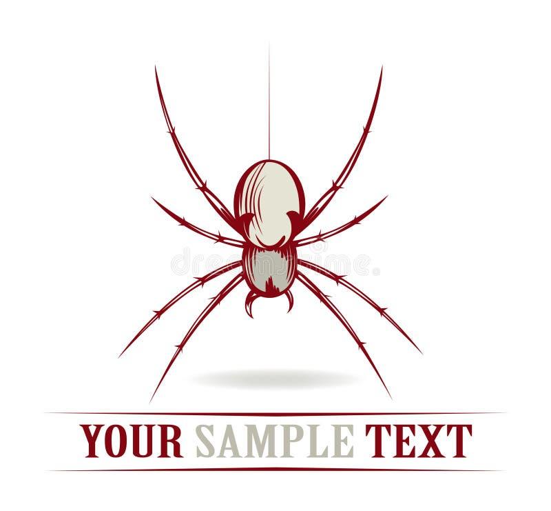 Aranha vermelha do perigo ilustração do vetor