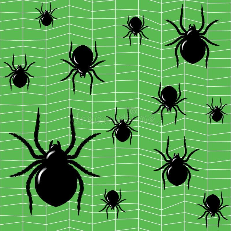 Aranhas em um fundo verde ilustração stock