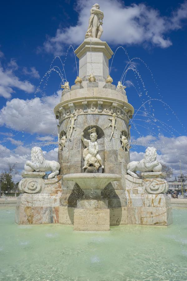 Aranjuez, Madrid, Spain. MARCH 25, 2018. Fountain of the Mariblanca de Aranjuez stock image