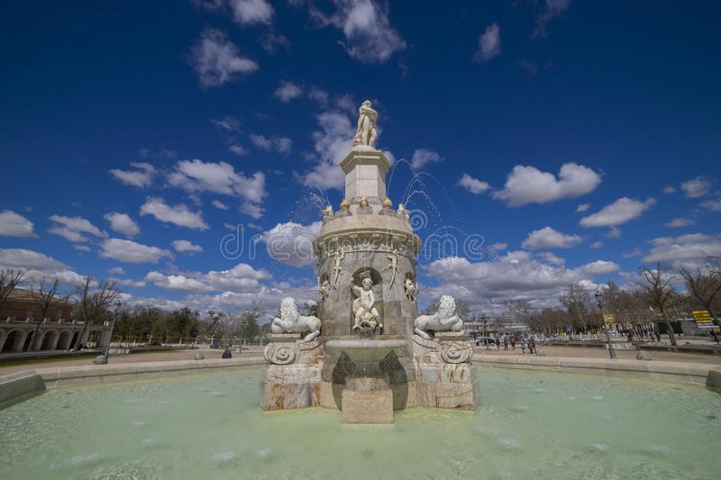 Aranjuez, Madrid, Spain. MARCH 25, 2018. Fountain of the Mariblanca de Aranjuez royalty free stock photos