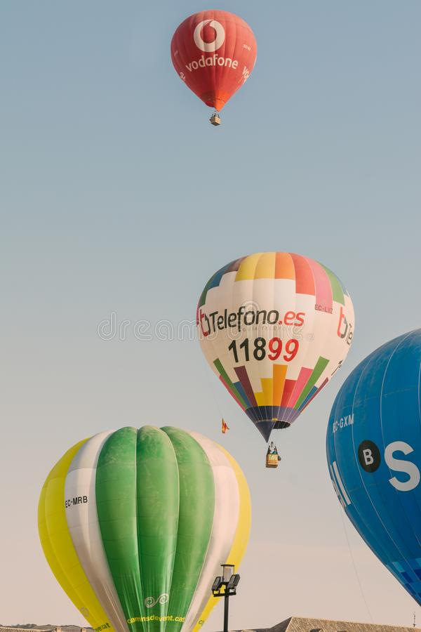 ARANJUEZ, SPAIN - OCTOBER 14, 2017, hot ballon air flying next. To the palace of Aranjuez, Spain. balloon festival Aranjuez, Spain, Organized by the ballon royalty free stock photos