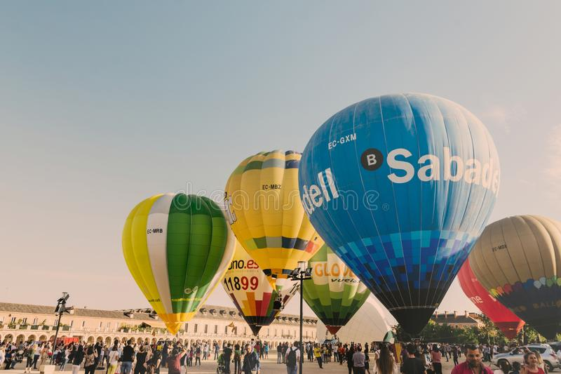 ARANJUEZ, SPAIN - OCTOBER 14, 2017, hot ballon air flying next. To the palace of Aranjuez, Spain. balloon festival Aranjuez, Spain, Organized by the ballon royalty free stock images