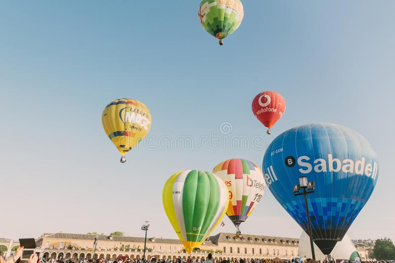 ARANJUEZ, SPAIN - OCTOBER 14, 2017, hot ballon air flying next. To the palace of Aranjuez, Spain. balloon festival Aranjuez, Spain, Organized by the ballon stock image