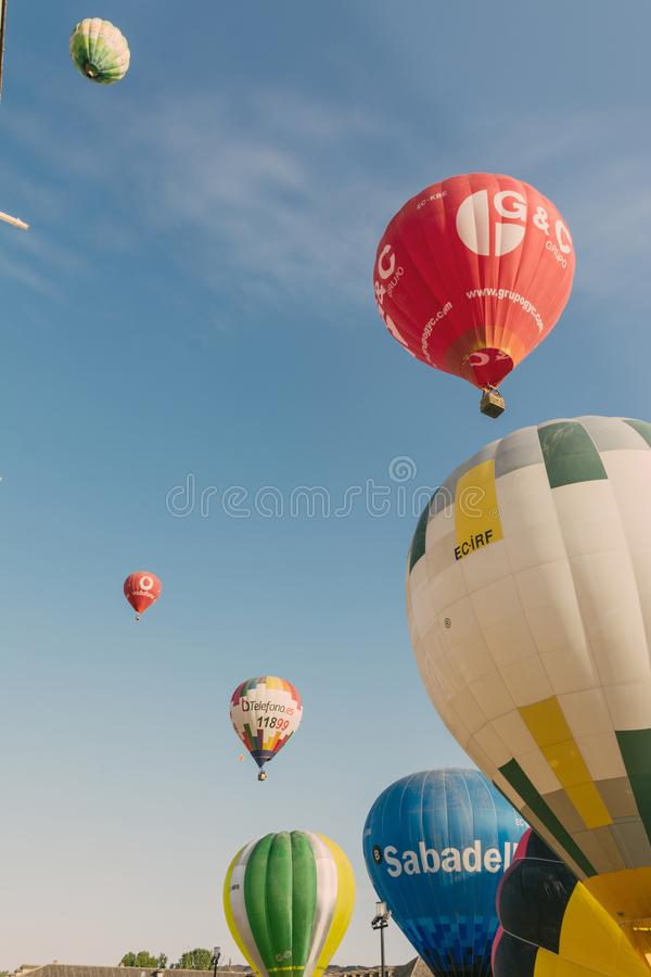 ARANJUEZ, SPAIN - OCTOBER 14, 2017, hot ballon air flying next. To the palace of Aranjuez, Spain. balloon festival Aranjuez, Spain, Organized by the ballon stock photography
