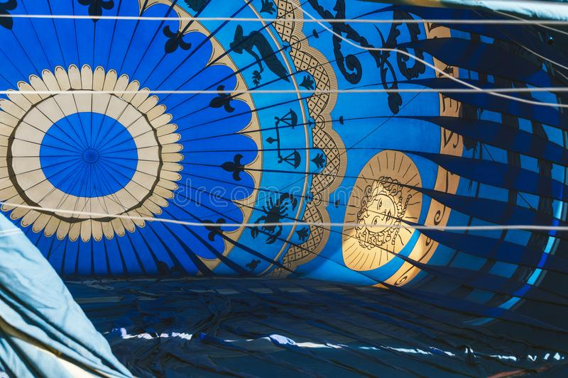 ARANJUEZ, SPAIN - OCTOBER 14, 2017. Inflating hot ballon air. Re. Plica of the Montgolfier balloon - first aerostat that flew over Paris in 1783 and Spain during royalty free stock images