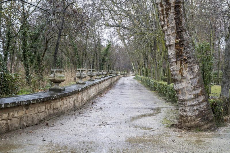 Aranjuez, world heritage, gardens of the island next to the royal palace stock photos