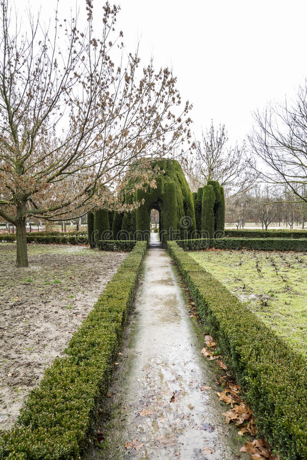 Aranjuez, world heritage, gardens of the island next to the royal palace stock photography