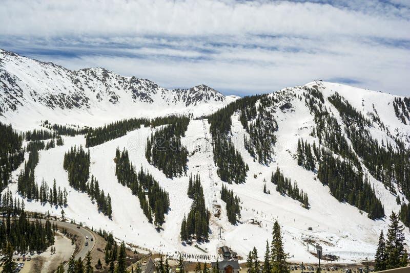Arapahoe Basenowy Narciarski teren w Kolorado Skalistych górach zdjęcia royalty free