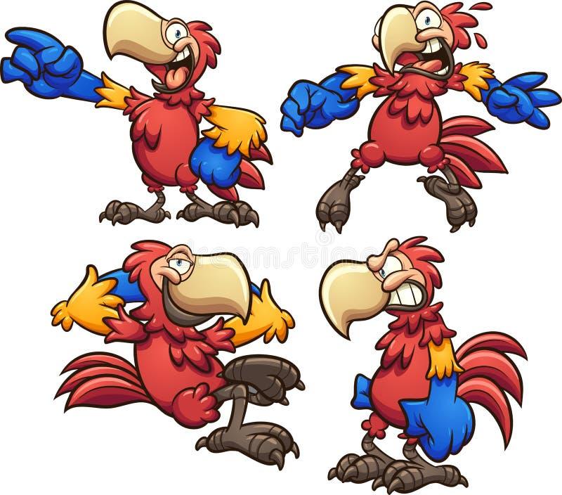 Arara vermelha dos desenhos animados em poses diferentes ilustração stock