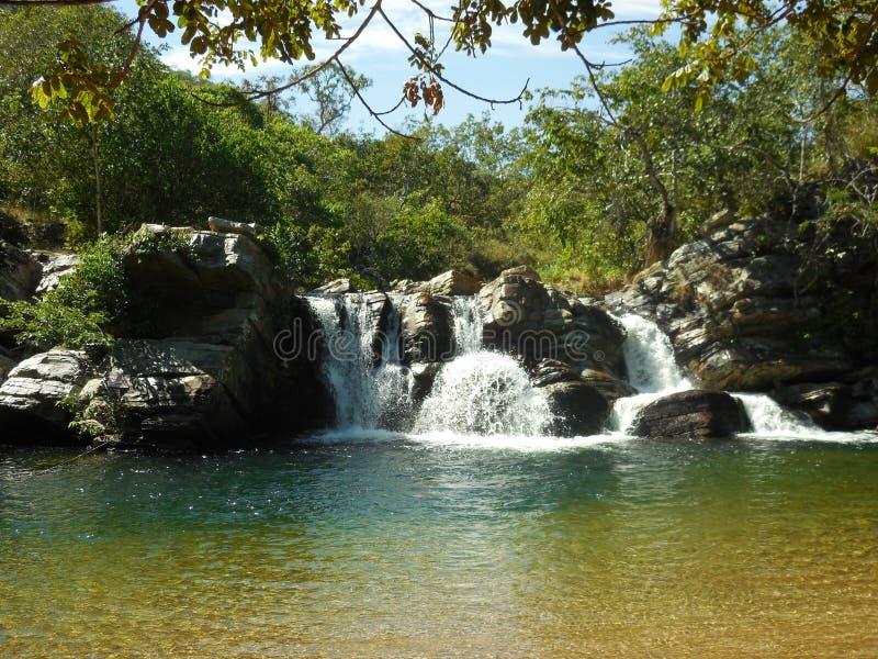 Araras waterfall. In Pirenópolis, Brazil stock photography
