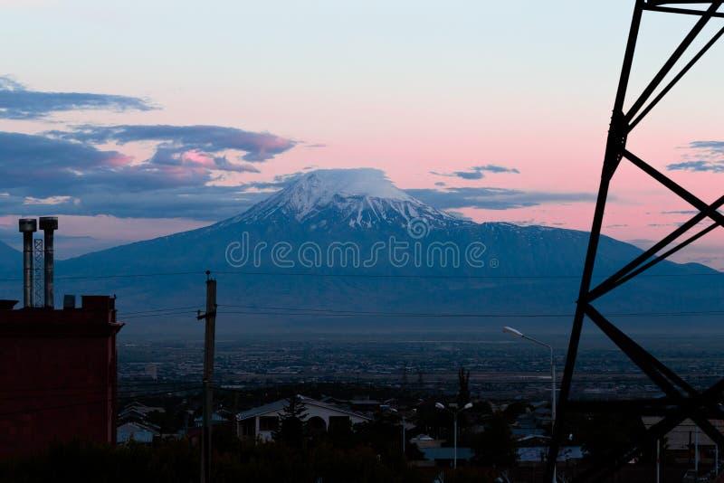 Ararat i aftonen, Yerevan, Armenien arkivfoto