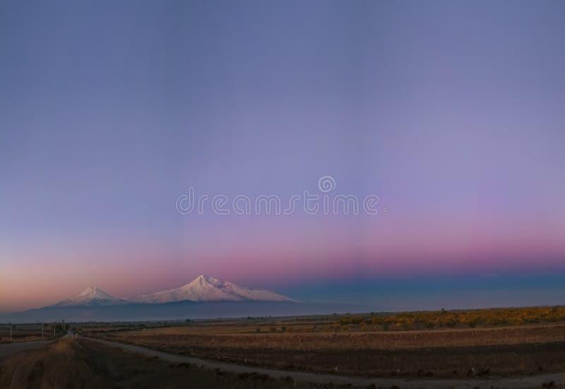 Ararat before sunrice panorama royalty free stock image