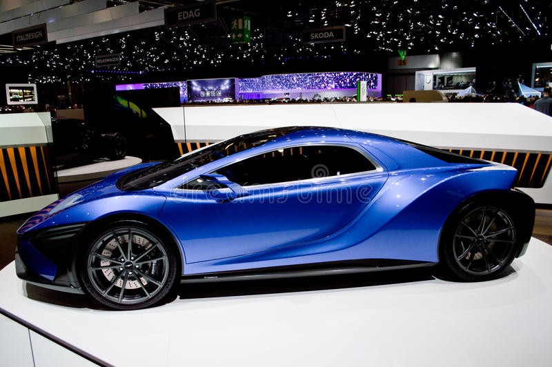 Arash AF8 Cassini at Geneva 2016. Geneva, 86th Salon de l`Auto Alongside the Arash AF10, the British company have the Arash AF 8 Cassini on display. The Arash stock images