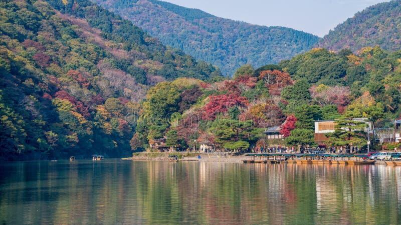 Arashiyama in autumn season royalty free stock photo