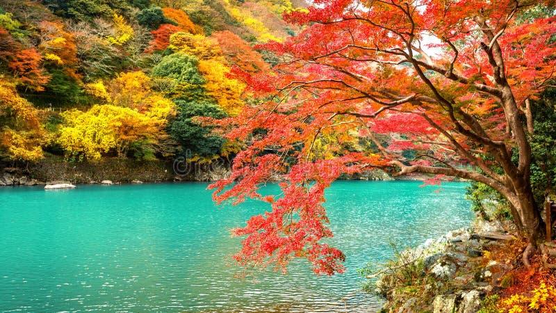 Arashiyama in der Herbstsaison entlang dem Fluss in Kyoto, Japan lizenzfreies stockbild