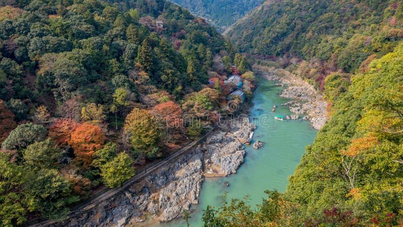 Arashiyama and Hozu river. Beautiful landscape of Arashiyama and Hozu river in autumn season stock photos