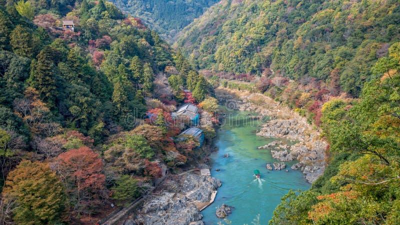 Arashiyama and Hozu river. Beautiful landscape of Arashiyama and Hozu river in autumn season stock photo