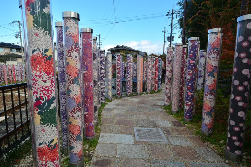 ARASHIYAMA, JAPAN - December 6, 2016 - Kimono forest at Arashiyama. ARASHIYAMA, JAPAN - December 6, 2016 - Kimono forest It is the fantastic space that displayed stock images