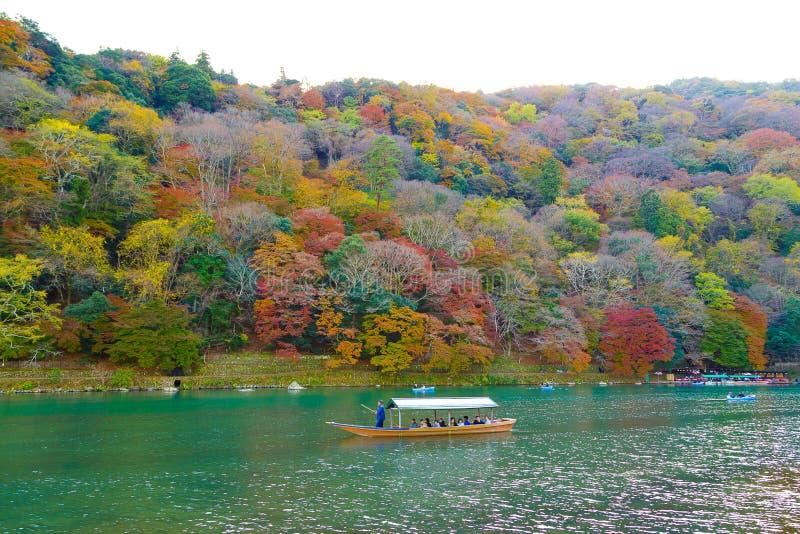 Arashiyama Mountain and the Oi River. Kyoto, Japan stock photo