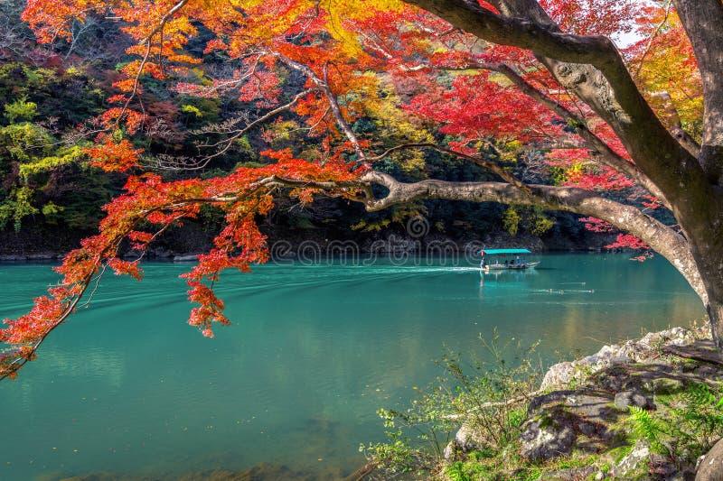 Arashiyama nella stagione di autunno lungo il fiume a Kyoto, Giappone fotografia stock