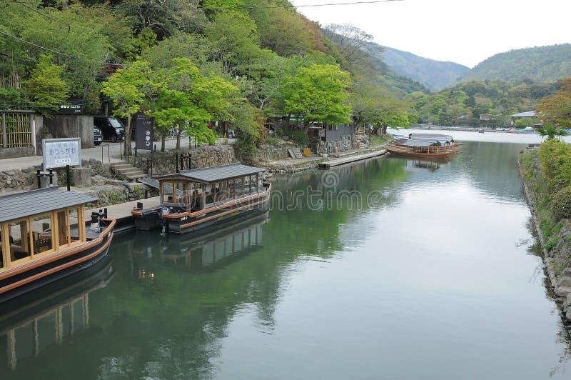 Arashiyama river cruise, Kyoto. Japan royalty free stock photography