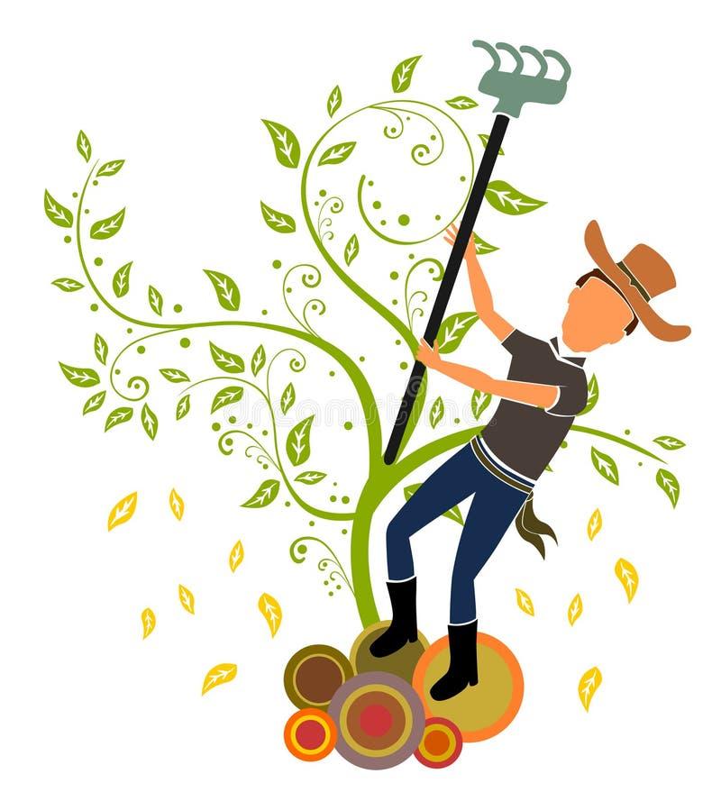 Aratura del coltivatore illustrazione vettoriale