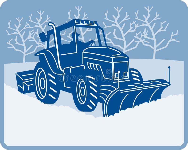 Aratura del trattore dell'aratro di neve illustrazione di stock