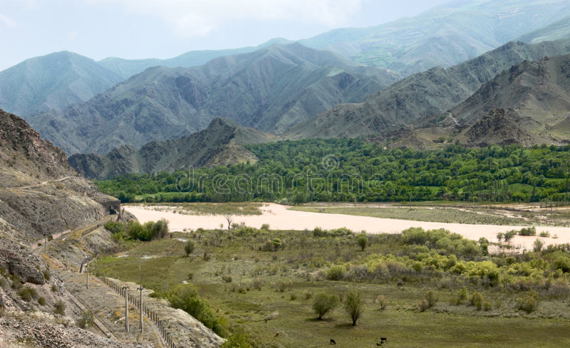 Arax river. Armenia-Iran border. Arax river in early spring. Armenia-Iran border royalty free stock image