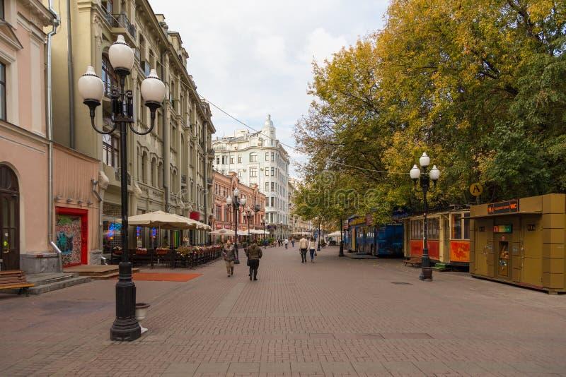 Arbat街道,莫斯科,俄罗斯主要旅游景点  库存照片