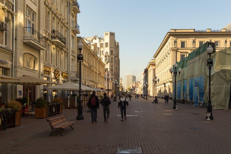 Arbat gata, huvudsakliga turist- dragningar av Moskva, Ryssland fotografering för bildbyråer