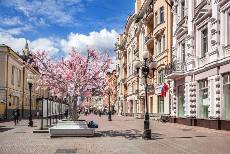 Arbat gata i Moskva arkivbild