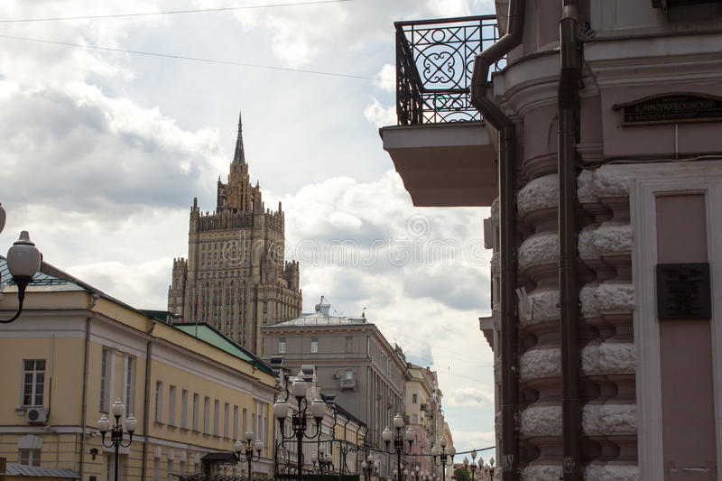 Arbat street, Moscow. Tall building of Ministry Of Foreign Affairs of Russia in the background royalty free stock image